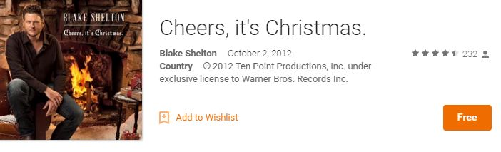 Free Blake Shelton Christmas Album