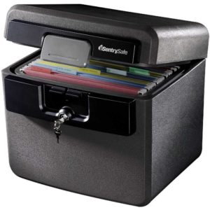 Grab this Sentry Safe File Box to store important financial papers that you will need to recover in case of a fire or flood.