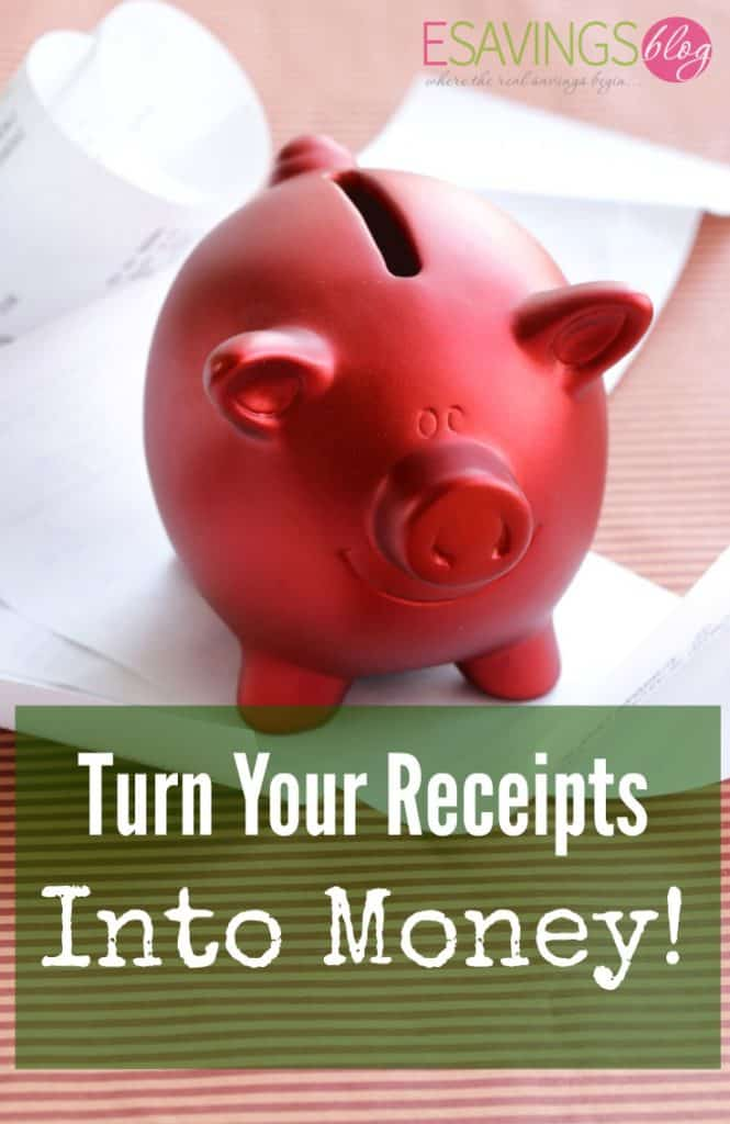 "Picture of a Piggy Bank on top of a pile of receipts that says ""Turn Your Receipts into Money!"""