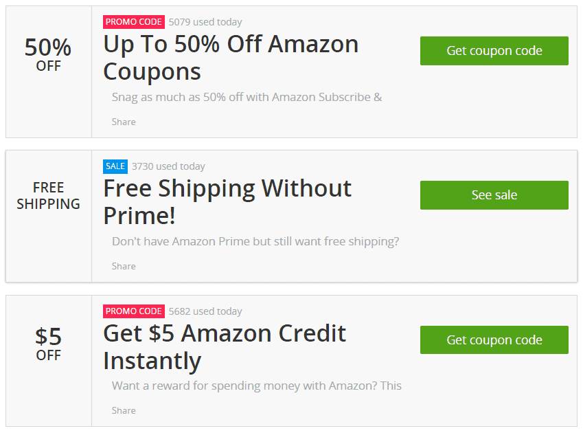Amazon Coupons & Promo Codes. 85 verified offers for December, Coupon Codes / Department Stores / Amazon Promotional Code. Add to Your Favorites. from users. We have 85 Amazon coupon codes for you to choose from including 17 coupon codes, 51 sales, and 17 deals.