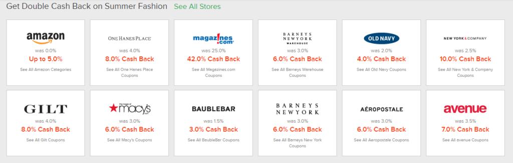 Ebates Double Cashback Stores