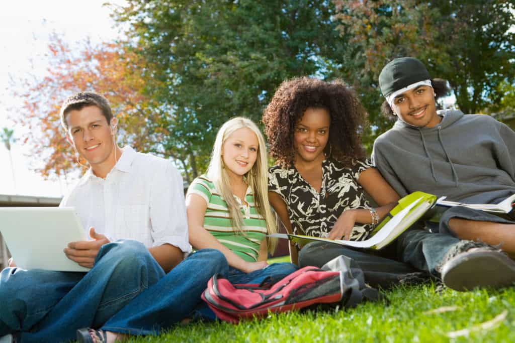 Students studying how to save money in college