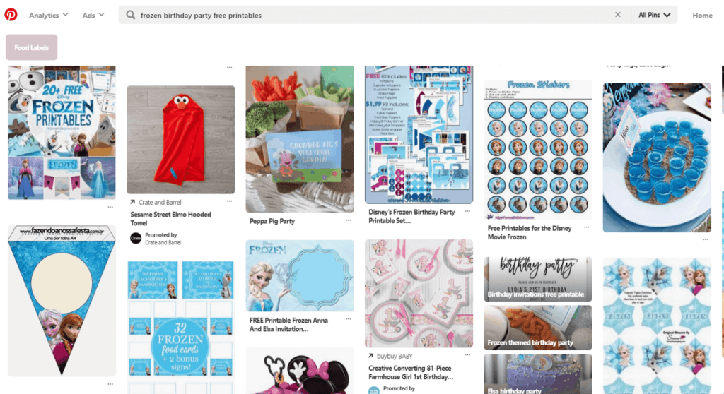 Frozen theme free printables