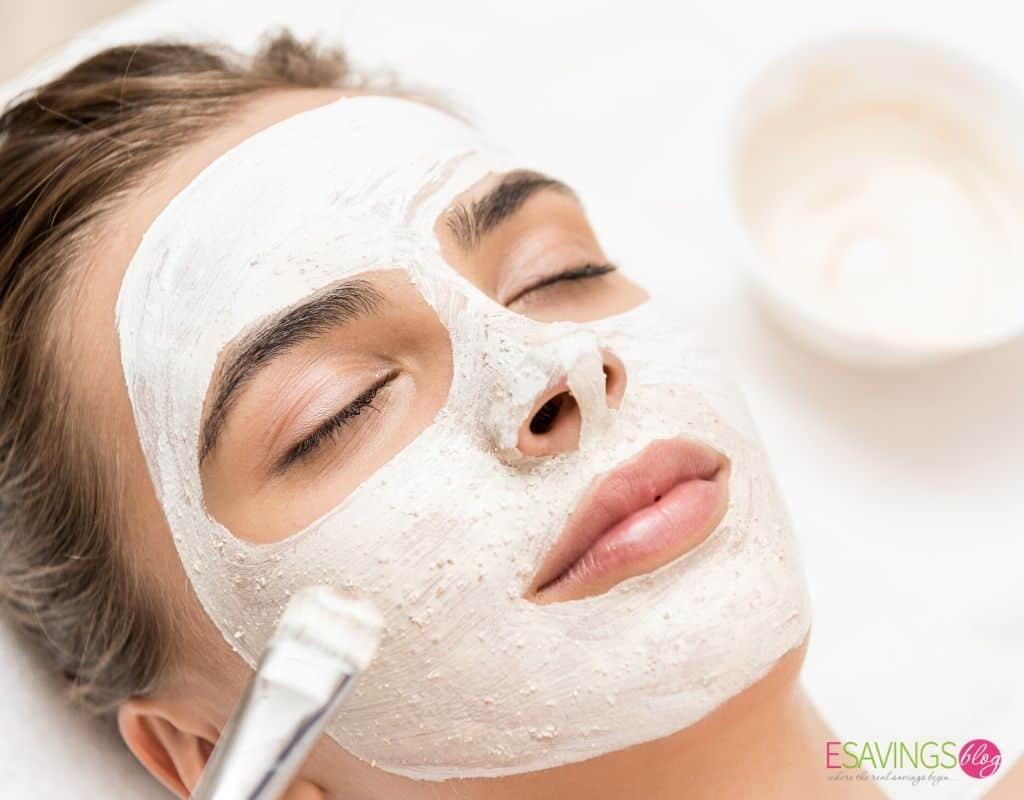Women doing an at home facial