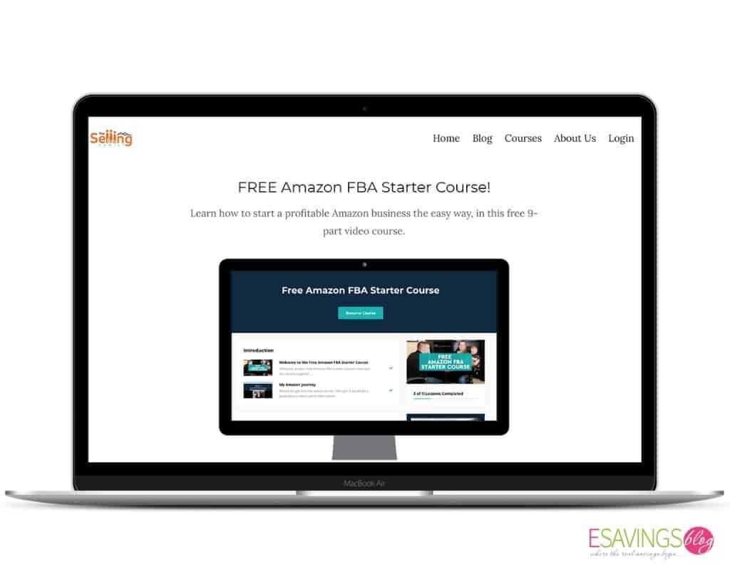 Free Amazon FBA Starter Course Pulled Up on a laptop Screen