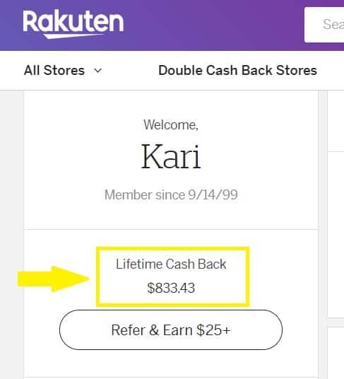 Cashback Sites: Rakuten Cashback site balance.
