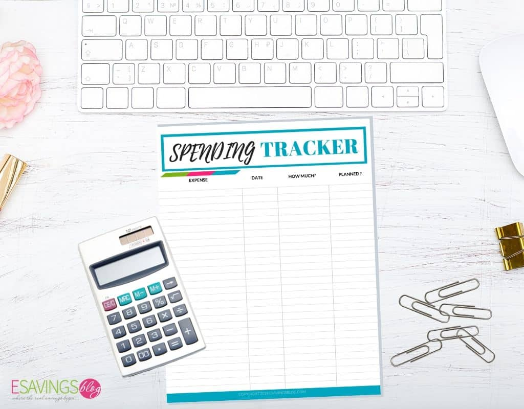Spending Tracker Printables to track expense when creating a zero-based budget.