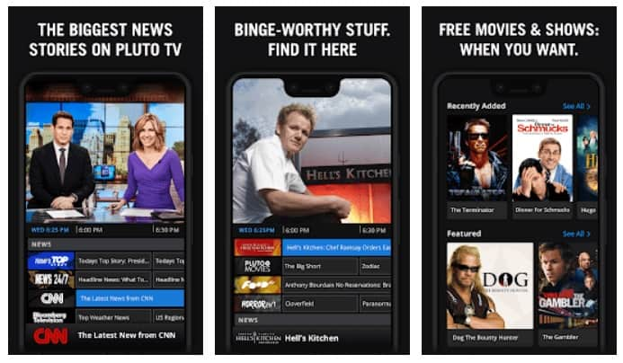 PLuto TV Streaming Service on a TV