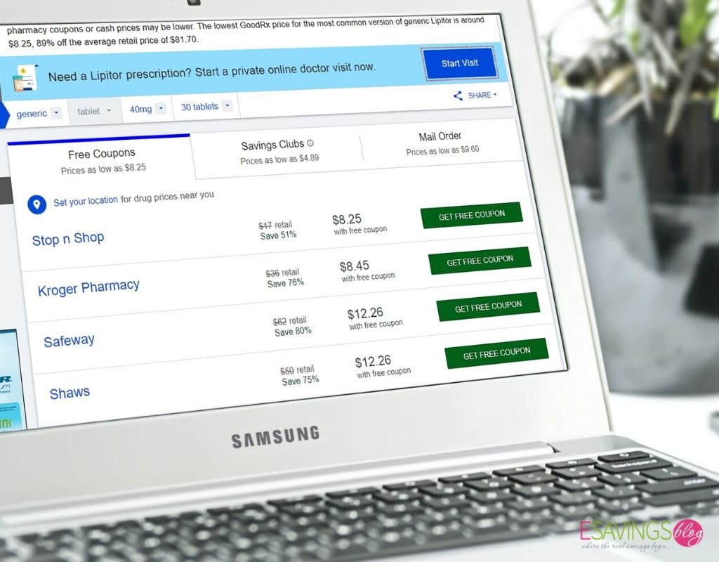 GoodRx website being searched for prescription savings on a laptop