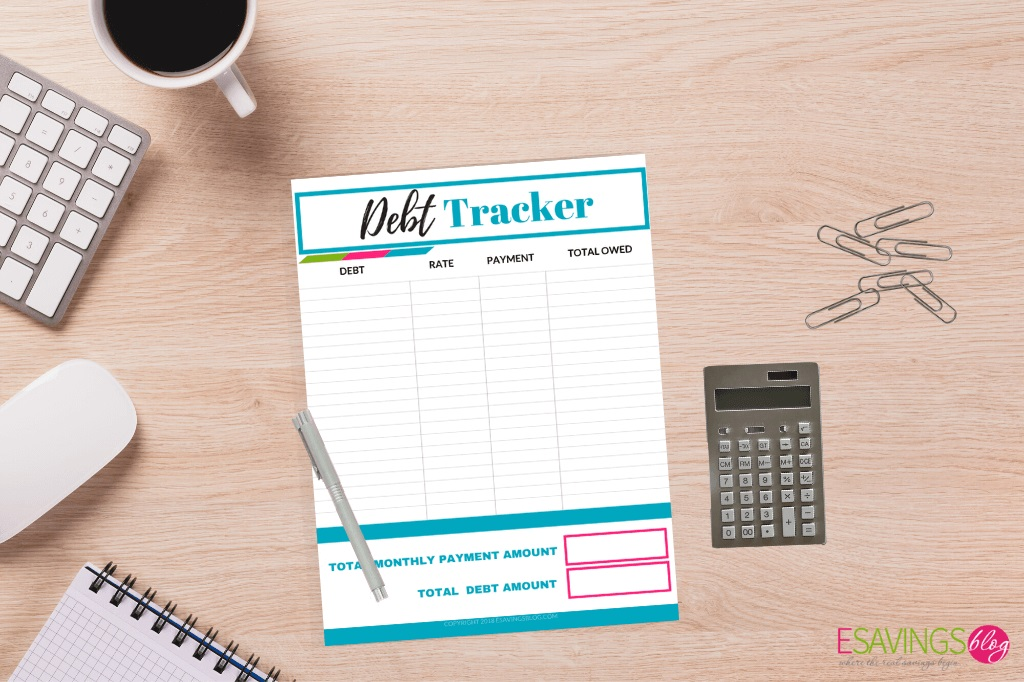 Printable Debt Tracker on a Desk