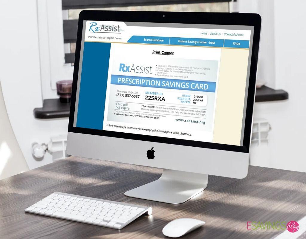 RxAssist prescription savings card being viewed on a desktop computer