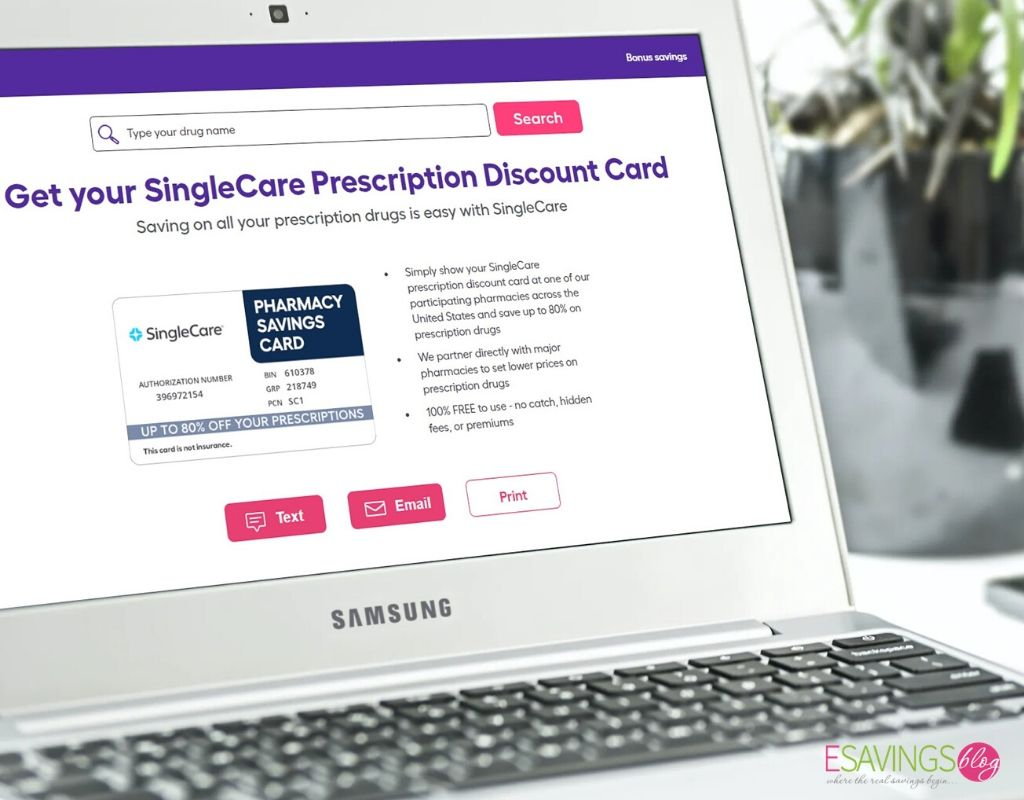 SIngleCare Discount Card Pulled up on a Laptop Screen
