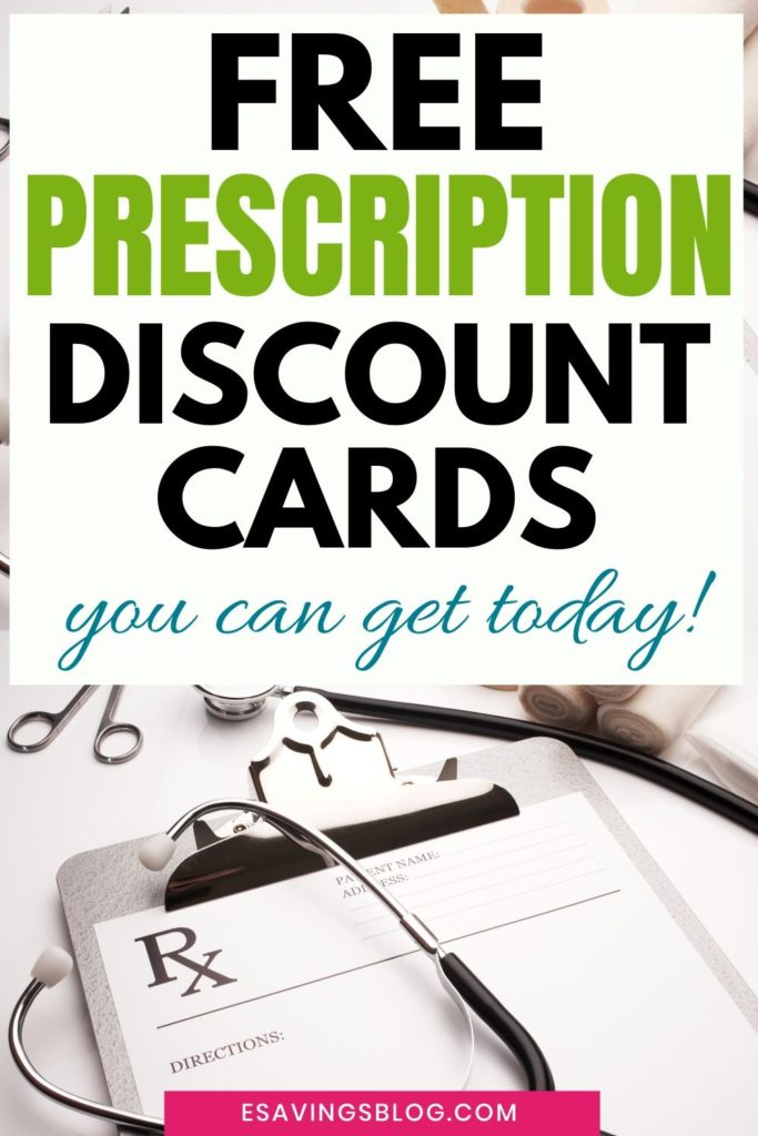 Prescription pad on desk with a text overlay that says Free Prescription Discount cards.