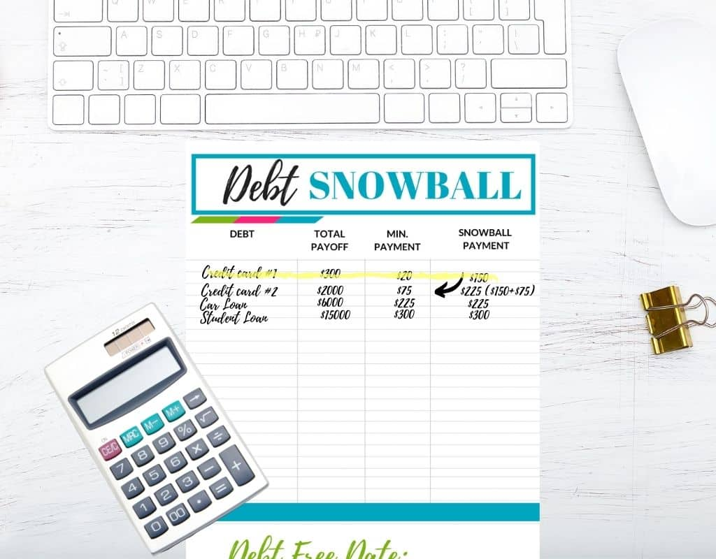 Debt snowball printable on a desk with debts crossed out.