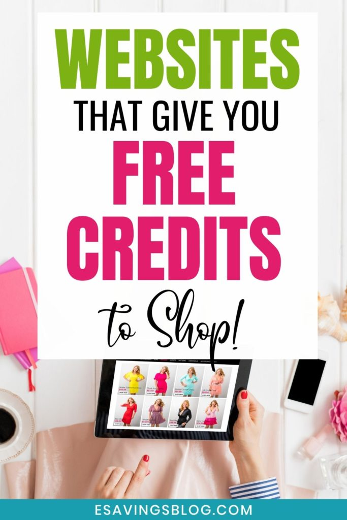 Picture of a women shopping online with a text overlay that says websites that give you free credits to shop.