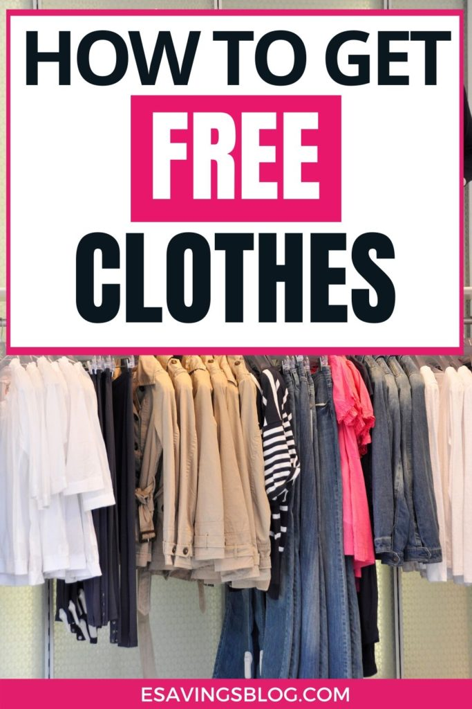 "Image of clothing on a rack with a text overlay that says ""How to Get Free Clothes""."