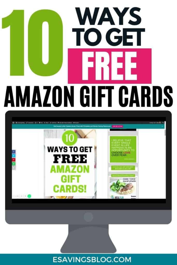 Photo of a blog post saying 10 Ways to Get Free Amazon Gift Cards