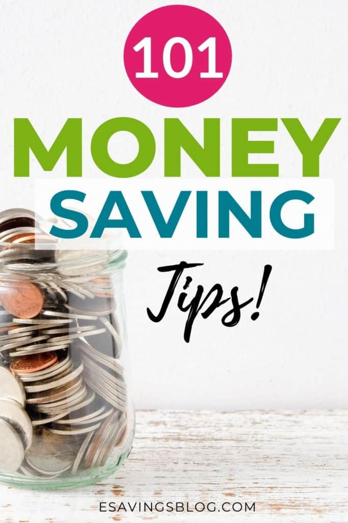 """Image of a jar of money with a text overlay that says """"101 Ways to Save Money""""."""