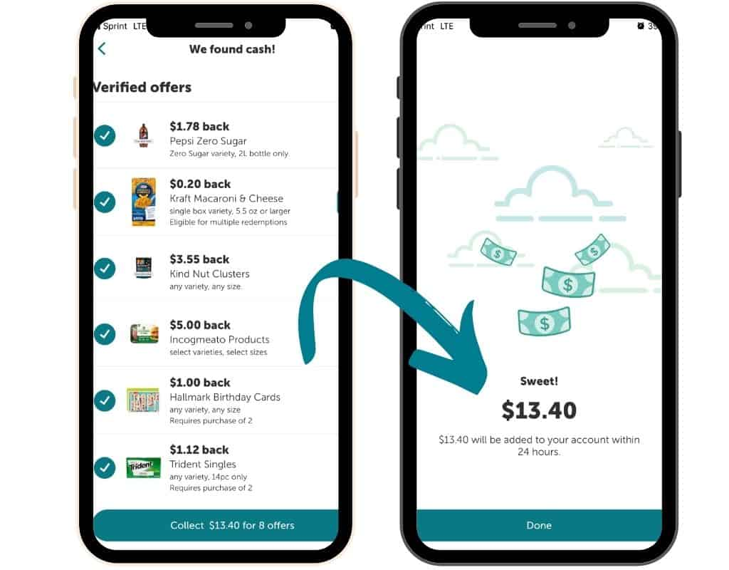 Ibotta App on Phone With Selected Walmart Deals Added