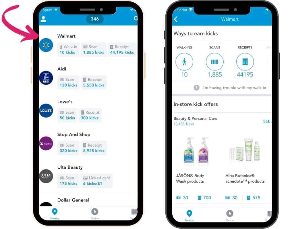 Shopkick app showing Walmart