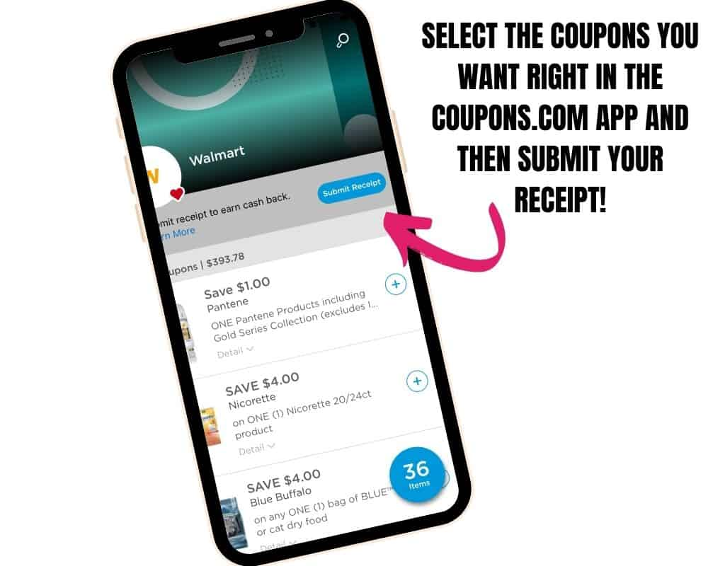 Walmart Savings Showing in the Coupons.com App