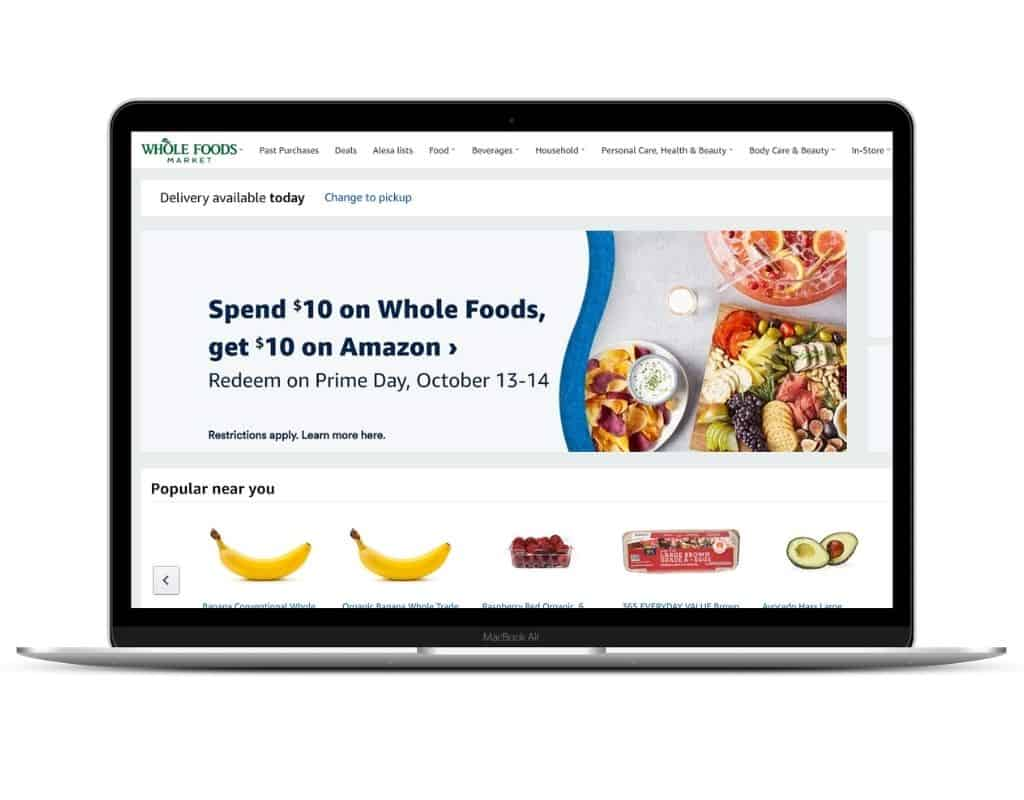 Whole Foods Prime Day Deal Displayed on a Laptop Screen