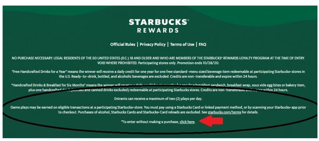 Starbucks free entry instructions on their website