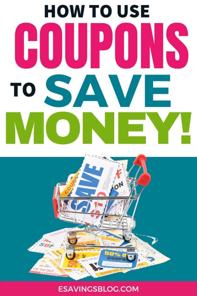 Coupons in a grocery cart with text that says How to Use Coupons to Save Money