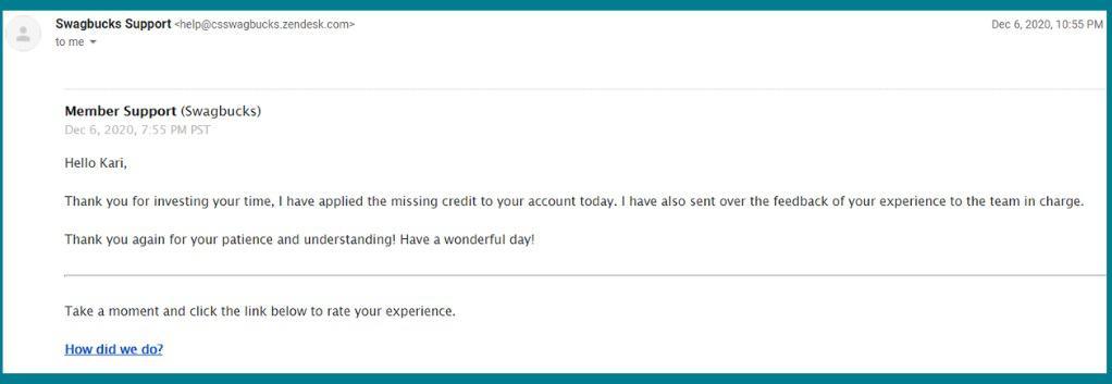 Swagbucks Customer Service Email Response