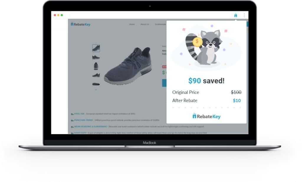 The RebateKey Chrome extension on a computer screen