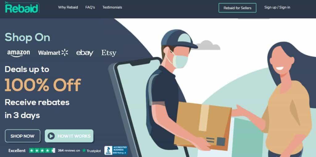 Rebaid website get up to 100% cashback rebates