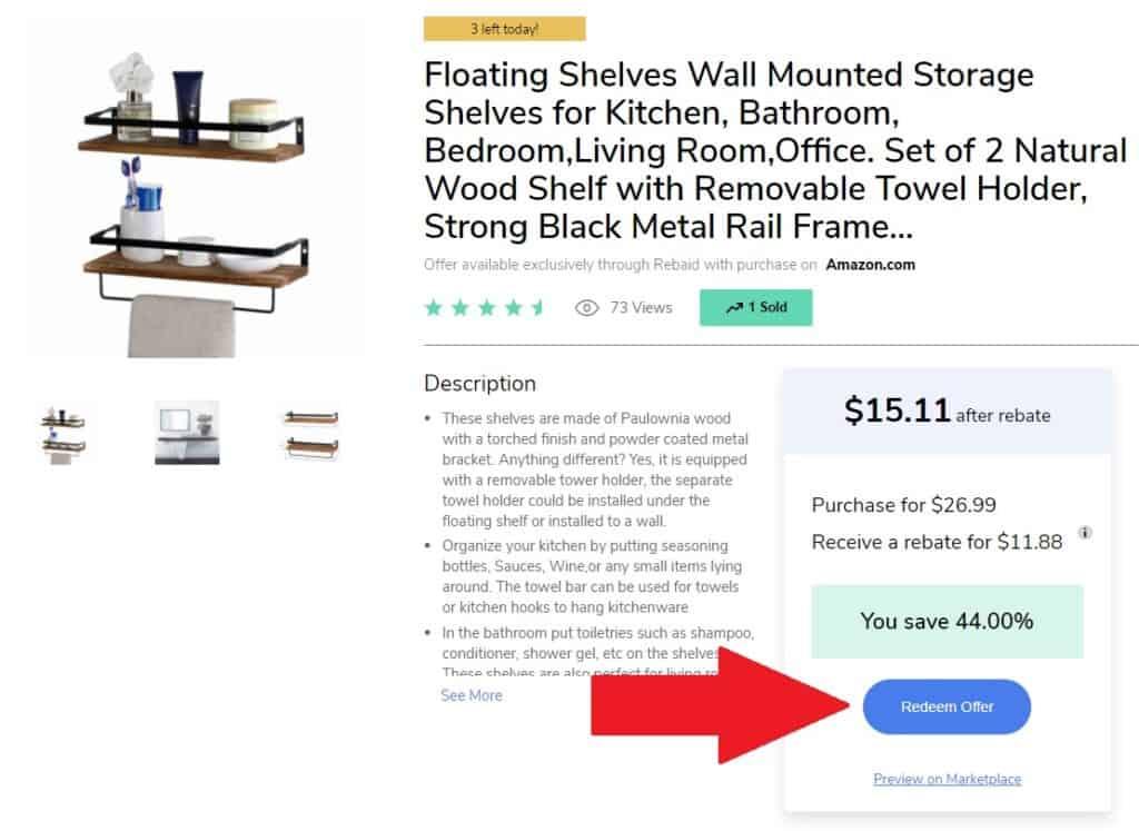Rebaid website cashback offer for Floatting shelves on Amazon.