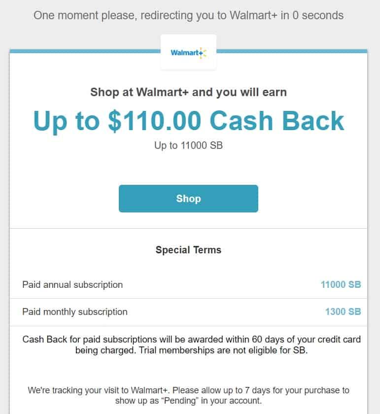 Walmart+ Deal on the Swagbucks Website.