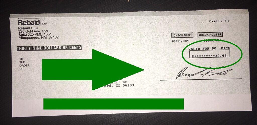 Rebaid Rebate Check