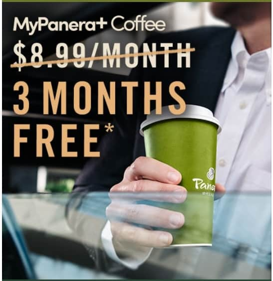 A sign for Three Free Months of Coffee at Panera Bread