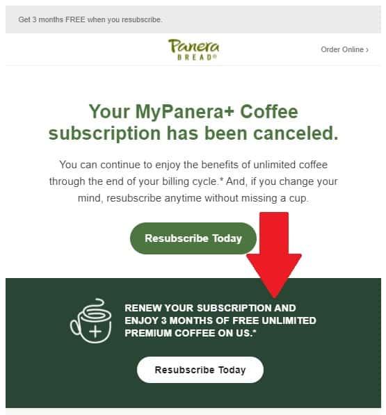 MyPanera Free Coffee resubsription offer.